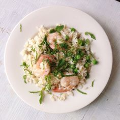 #spring favorite: #rice, #peas, #shrimp, and #mint. #lunch #feedfeed #vscocam