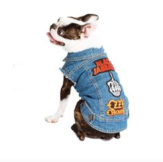 Custom Made Dog Battle Jacket by PetHaus Give your dog the ultimate in street and park cred in these Dog Battle Jackets by PetHaus. Made from hard wearing vintage-look denim that is double stitched to last, with brass dome fasteners and cotton lining for extra comfort. Chose from 70's vintage blue or black denim. Best of all, PetHaus does all the work for you. Just give them a theme or tell them your fave bands and they will source out all the patches for you.