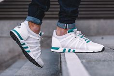 adidas EQT Racing 93 Equipment Green features a White leather and mesh based upper with Equipment Green accents on the tongue and midsole detailing.
