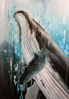 "ocean art,  whale painting, coastal art, oil painting ""Giant"""