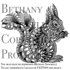 Squirrel Mandala Drawing by Bethany Stockell (BLS Designs). All rights reserved.