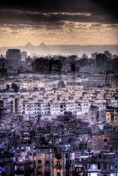 Cairo, Egypt ~ really interesting picture of this mysterious city. A the sky is a bit cloudy and the city looks monochromatic and aloof