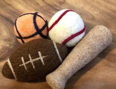 Excited to share this item from my shop: Football, Felt Bat, Stuffie, Wool Felt Sports, Newborn Prop Bear Felt, Felt Bunny, Felt Owls, Needle Felted, Nuno Felting, Newborn Photo Props, Newborn Photos, Football Baby, Baseball