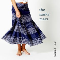 ...Party Perfect - the 'Sanka' maxi skirt - tiers of Indigo, shibori print & kantha stitch embroidered panels with raw edge hems, pure Indian cotton voile with a half petticoat, concealed zip & a slimline elasticised panel on the back for the perfect fit!. Swishes when you walk, just like it should... www.foundling.com.au