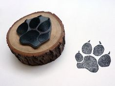 Hand-Carved Linocut Stamp of Dog Footprint with a Wood Handle. Handmade Dog Footprint Stamp and Paperweight.