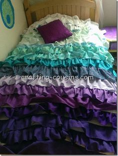 Ruffle bedspread tutorial by The Crafty Cousins