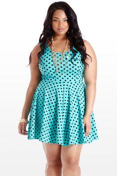 Us and Femme Polka Dot Print Plus Size Dress