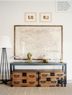 I'm still on the hunt for the perfect map! My living room needs it desperately. Vintage Living Room - A framed map above a table and a pair of wooden trunks. Wooden Trunks, Living Room Photos, Living Rooms, Weekend House, Love Home, My New Room, Interiores Design, Interior Inspiration, Interior Ideas
