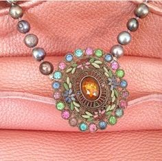 1940's brooch necklace with hand knotted freshwater pearls.