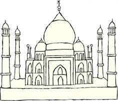 taj mahal drawing for kids | Taj mahal coloring page