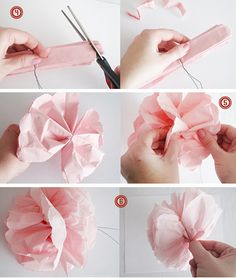 Paper flowers made with napkins detutorial2 by thebrightsideproject, via Flickr