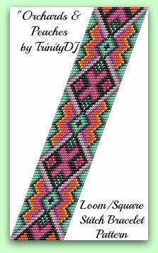 BP-LOOM-013 - Orchards & Peaches - Loom or Square Stitch Bracelet Pattern - In The RAW