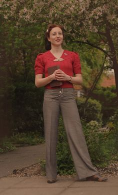 1940s inspired outfit, Spring 2012, wearing a hand-made jumper and trousers from ebay