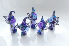 Miniature midnight fairy village in lilac, purple and black handmade from polymer clay Biscuit, Fairy Village, Clay Houses, Fairy Crafts, Polymer Clay Crafts, Fairy Houses, Clay Creations, Purple And Black, Lilac