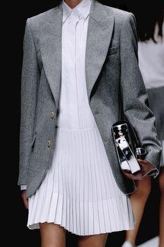 white pleated dress + suit jacket, Vanessa Bruno F/W 2013