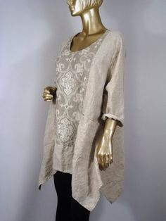 Lagenlook, long tunic, linen, beige, plus size, shabby chic, hankie hem, pockets, layered look, top, dress, XS-3XL. Free shipping in USA.