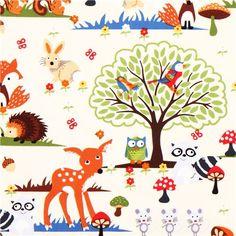 cream forest animal fabric Timeless Treasures owl fox