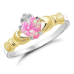 Sterling Silver Gold Plated with Pink Lab Opal Claddagh Ring Size 4 Kriskate & Co. http://www.amazon.com/dp/B00DTXCG0C/ref=cm_sw_r_pi_dp_MfBdvb0AFS6VC