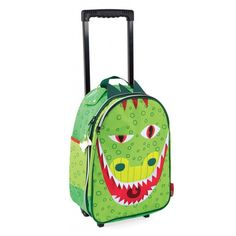 Janod Kids Luggage Suitcase Trolley, Dragon T-Rex Dino With plastic wheels - Kristin's Great Finds - $59.99