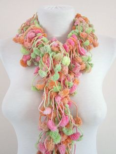 Hand crochet Long Scarf pink peachy green colorful by scarfnurlu Neck Accessories, Winter Accessories, Pompom Scarf, Long Scarf, Hand Crochet, Womens Scarves, Crochet Necklace, Autumn Fashion