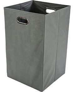 On Sale! Modern Littles Folding Laundry Basket with Handles - High-Strength Polymer Construction - Folds for Easy Storage and Transportation - 13.75 Inches x 13.75 Inches x 22.75 Inches - Grey