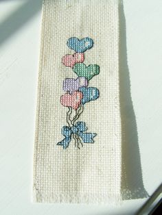 Cross Stitch Bookmark Heart Balloon Bouquet Bookmark, Pink, Blue Balloons, Book Marker, Embroidered Page Marker