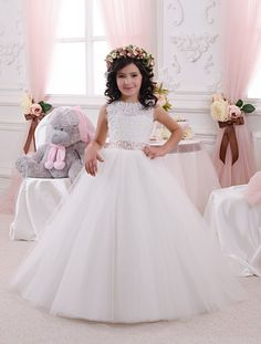 Lace Ivory White Flower Girl Dress  Holiday por Butterflydressua