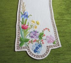 VINTAGE TABLE RUNNER-HAND EMBROIDERED-COLOURFUL SPRING FLOWERS