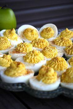 My Kitchen Escapades: Deviled Eggs    eggs, spicy brown mustard, mayo, red wine vinegar, worcestershire sauce
