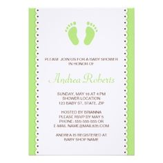 Green little feet baby shower invitation