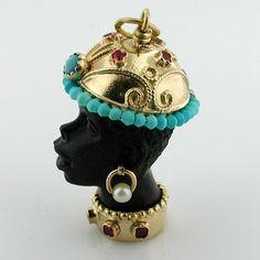 Blackamoor Turquoise 18K Gold Jeweled Vintage Charm Pendant