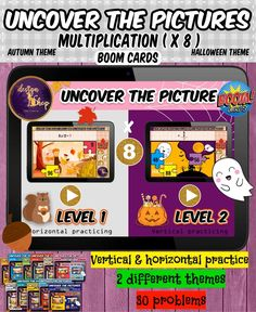 This product is on the BOOM™ Learning website, perfect for distance learning, you can use these digital fun games on a laptop, desktop, Chromebook, tablet, mobile and smart board. Can be used as a morning work, homework, online games, fun practice and more. 2 different pictures included to uncover Autumn & Halloween themes. It covers Multiplication (X 8) Horizontal& Vertical.