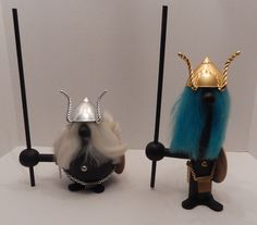 Pair Huge Retro Mid Century Wood Viking Warriors Danish Decorative Figures