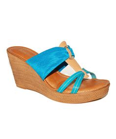 Take a look at this Azul & Tan Wedge Sandal by Toscanella on #zulily today!