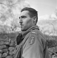 """Lieutenant J. Kostelec (Calgary, AB), who is wearing the """"U.S.-Canada"""" shoulder title worn by all members of the First Special Service Force, Noci, Italy, 2 January 1944."""