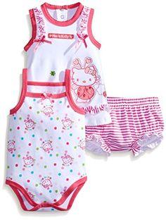 dad421ae5 Hello Kitty Baby-Girls Newborn Stripe and Polka Dot Diaper Set, Pink, 3