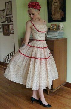 1950's Vintage red polka dot dress.