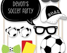 The perfect photo booth begins with fabulous photo booth props. Our printed and cut kit will help you easily create fun party photos at your next party. This GOAAAL! - Soccer party photo booth props kit come with 20 pieces, one of which is personalized Soccer Birthday Parties, Girls Birthday Party Themes, Soccer Party, Soccer Theme, Football Soccer, Soccer Baby Showers, Soccer Banquet, Party Mottos, Baby Shower Photo Booth