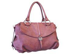 Vegan Shoes & Bags: Vegan Handbag-Franchine in Mauve and Cream - $67.50