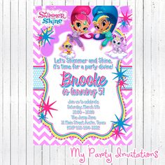 Shimmer and Shine Birthday Invitation, DIY Digital File, Printable, Party Invite, Printing Available, Sparkle, Genies, Genie, Invites by MyPartyInvitations on Etsy https://www.etsy.com/listing/264764123/shimmer-and-shine-birthday-invitation