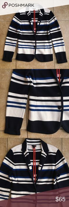 """Ann Taylor Striped Knit Blazer Navy blue, white, and cobalt blue stripes. Folded collar, button closure, very soft & comfy. Thick knit fabric! In great condition. 18.5"""" armpit to armpit. Ann Taylor Jackets & Coats Blazers"""