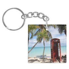 Red public Telephone Booth on Antigua Acrylic Keychains