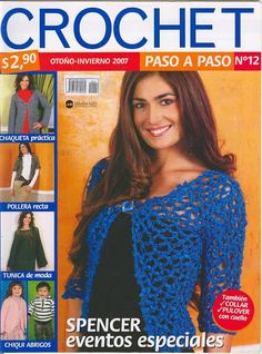 Crochet otoño invierno 2007 paso a paso Nro 12 Crochet Book Cover, Crochet Books, Crochet Art, Tunisian Crochet Patterns, Crochet Patterns Amigurumi, Knitting Magazine, Crochet Magazine, Popular Crochet, Cross Stitch Magazines