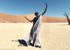 Christoph Köstlin - those without Shadows // 09 // Namibia // Sossusvlei // desert editorial // fashion editorial // black skin // fashion model // african model // south africa // white dress