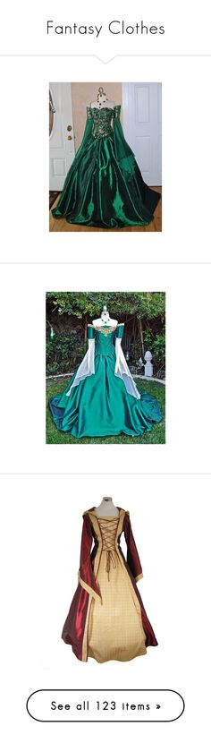 """""""Fantasy Clothes"""" by meganarch ❤ liked on Polyvore featuring dresses, gowns, victorian, green ball gown, victorian ball gowns, victorian evening gown, green evening gown, victorian gown, costumes and medieval dresses"""
