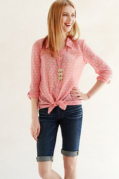 anthropologie daytrip button down with little pink elephants!