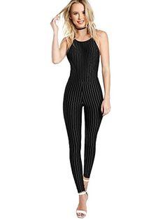ARTFFEL Women Long Sleeve Back Cross Backless Slim Fit Stylish Bodycon Clubwear Top Bodysuit Jumpsuit Romper