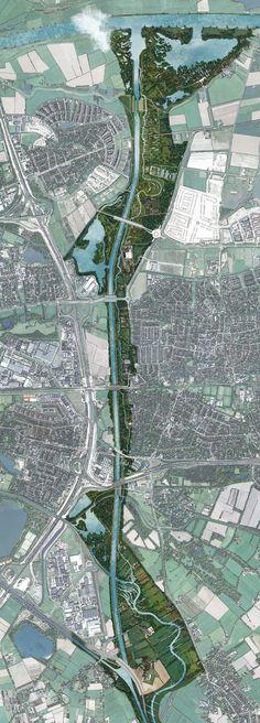 Inrichtingsschets van het kanaalpark 's-Hertogenbosch met het nieuwe Maximakanaal en de Rosmalense Aa.