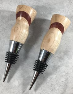 Special Order for Lauren Cherry and Purpleheart Hand-Turned Lathe Projects, Wood Turning Projects, Wine Bottle Stoppers, Carving Tools, Wood Lathe, Woodturning, Black Rubber, Woodworking Ideas, Chrome Plating
