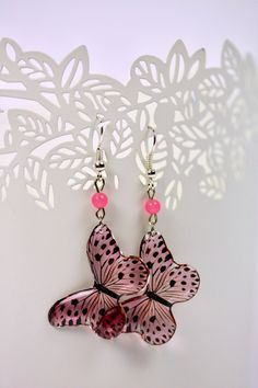 Your place to buy and sell all things handmade Butterfly Earrings, Pink Butterfly, Butterflies, Unique Earrings, Beautiful Earrings, Etsy Earrings, Modern Jewelry, Unique Jewelry, Resin Jewellery